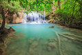 Waterfall in national park kanchanaburi province thailand Stock Image