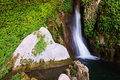 Waterfall in natural grot provincia de jaen spain Royalty Free Stock Photo
