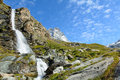 Waterfall natural in the upper valley of the matterhorn Stock Photography