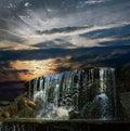 Waterfall at night at sunset Royalty Free Stock Photo