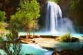 Waterfall into Oasis Royalty Free Stock Photo
