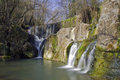 Waterfall in Olot, Spain Royalty Free Stock Images