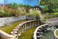 Waterfall pond in the garden Stock Photos