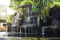Waterfall pond out door houes Stock Image