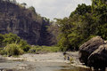 Waterfall pongour at low season nobody of tourists in reserve Royalty Free Stock Photo