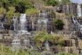 Waterfall pongour at low season, nobody of Royalty Free Stock Photo