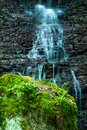 Waterfall at mountain river. cascade Royalty Free Stock Photo