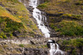 Waterfall Road Glacier National Park Montana Shale Glacier Melt Royalty Free Stock Photo