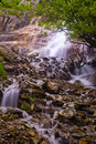 Waterfall rocks trees beautiful flowing among stones and forest in the altai mountains russia Stock Photos