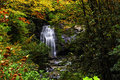 Waterfall in smoky mountain national park in fall colors and a Stock Image