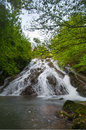 Waterfall surrounded by trees with green leaves alava spain Royalty Free Stock Images