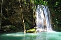 Waterfall in Thailand - Erawan waterfall) Royalty Free Stock Photos