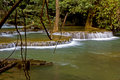 Waterfall and tree in summer hui mae kamin forest kanchanaburi thailand Stock Photo