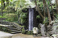 Waterfall in tripcal garden Monte Madeira Royalty Free Stock Photo