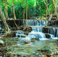Waterfall in tropical forest at huay mae kamin thailand kanchanaburi Stock Photos