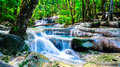 Waterfall in the tropical forest at thailand national park erawan Royalty Free Stock Images