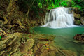 Waterfall in tropical forest, west of Thailand Royalty Free Stock Photo