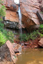 Waterfall, Upper Emerald Pool, Zion National Park Royalty Free Stock Photo