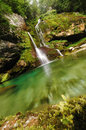 Waterfall virje near bovec slovenia dreamy in the wood Royalty Free Stock Photography