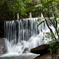 Waterfall water flowing over falls long time exposure Stock Photography