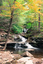 Waterfall where Waters Meet at Ricketts Glen State Park in crisp Autumn weather Royalty Free Stock Photo