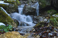Waterfall in the wild a small heart of mountains near brasov romania Stock Image