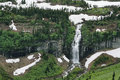 Waterfalls along the going to the sun road in glacier national park Stock Photo