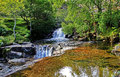 Waterfalls along mountain srteam afon cwm llan snowdon stream by the watkins path wales Stock Photos