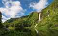 Waterfalls on azores landscape with flores island Royalty Free Stock Photo