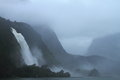 Waterfalls beautiful during the rainstorm in fiordland national park new zealand Royalty Free Stock Image