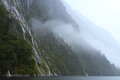 Waterfalls beautiful during the rainstorm in fiordland national park new zealand Stock Photos