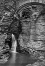 Waterfalls black and white beautiful in with detailed rock walls at watkins glen state park in new york Stock Image
