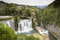 Waterfalls in jajce bih waterfall city bosnia and herzegovina Stock Images