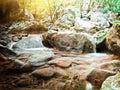 Waterfalls on mountain river Royalty Free Stock Photo