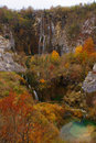 Waterfalls on Plitvice Lakes in Autumn Royalty Free Stock Image