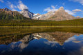 Waterfowl lake jasper icefield parkway shot in national park with chephren mountain in the background Royalty Free Stock Photography