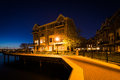 Waterfront apartment building at night, in Canton, Baltimore, Ma Royalty Free Stock Photo