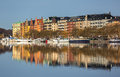 Waterfront apartment buildings residential area on kungsholmen stockholm Stock Photography