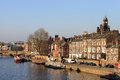 Waterfront buildings on River Ouse in York. Royalty Free Stock Images