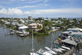 Waterfront homes and boats at Fort Myers Beach Royalty Free Stock Photo