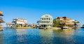 Waterfront homes community on the texas gulf coast near galveston Stock Photos