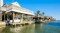 Waterfront homes community on the texas gulf coast near galveston Stock Photo