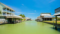 Waterfront homes community on the texas gulf coast near galveston Stock Image