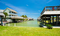 Waterfront homes community on the texas gulf coast near galveston Stock Images