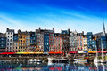 Waterfront of Honfleur harbor in Normandy, France Royalty Free Stock Photo