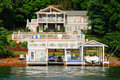 Waterfront House Pool, Boats, Jet Skis Royalty Free Stock Photo