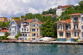 Waterfront houses along the bosphorus strait traditional by in turkey Royalty Free Stock Image