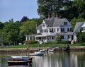 Waterfront houses and boats Royalty Free Stock Photo