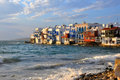 Waterfront houses on famous Mykonos beach, greece Royalty Free Stock Photo