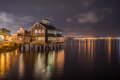 Pier Cafe at Seaport Village, San Diego, California night shot Royalty Free Stock Photo